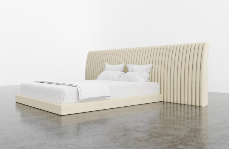 American Channel Bed, Modern Bed with Kimodo Faux Leather Frame and Headboard For Sale