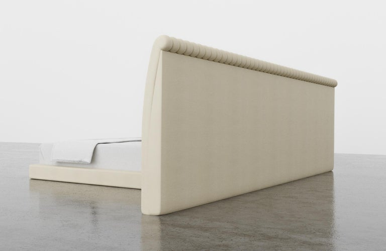 Channel Bed, Modern Bed with Kimodo Faux Leather Frame and Headboard In New Condition For Sale In Laguna Niguel, CA