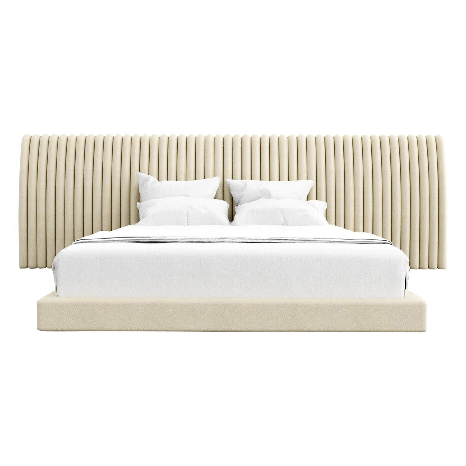 Channel Bed, Modern Bed with Kimodo Faux Leather Frame and Headboard