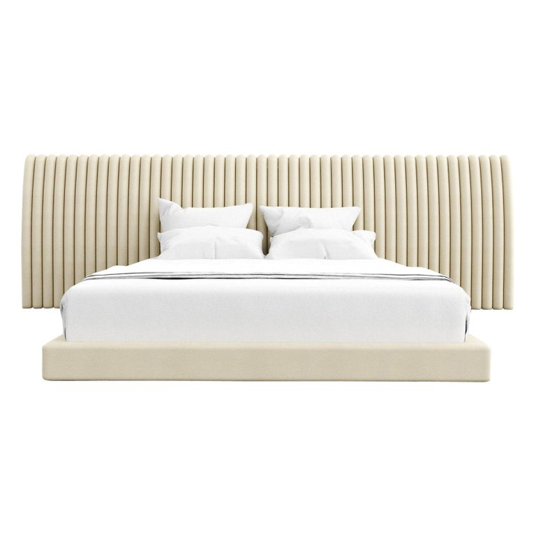 Channel Bed, Modern Bed with Kimodo Faux Leather Frame and Headboard For Sale