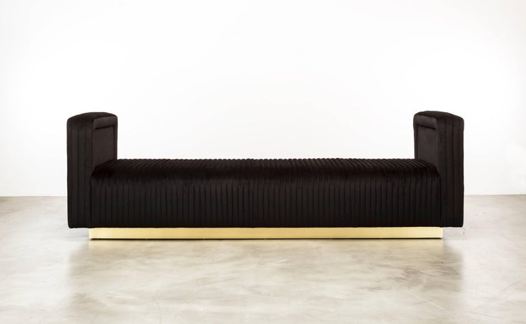 The Channel Daybed inspired by vintage car interiors features channeled waterfall leather on a plinth base.   Fully custom and made to order in California.  As shown in Glam Velvet $11,075.00.  Starting at $10,450.00.