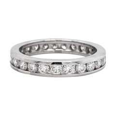 Channel Eternity Band Ring, White Gold, 1.50 Carat Diamond, Infinity