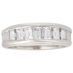 Channel Invisible Set Diamond Wedding Band, Platinum and 18 Karat White Gold