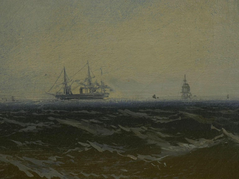 """Channel Scenery"" '1864' Marine Seascape Nautical Painting by James Hamilton For Sale 6"