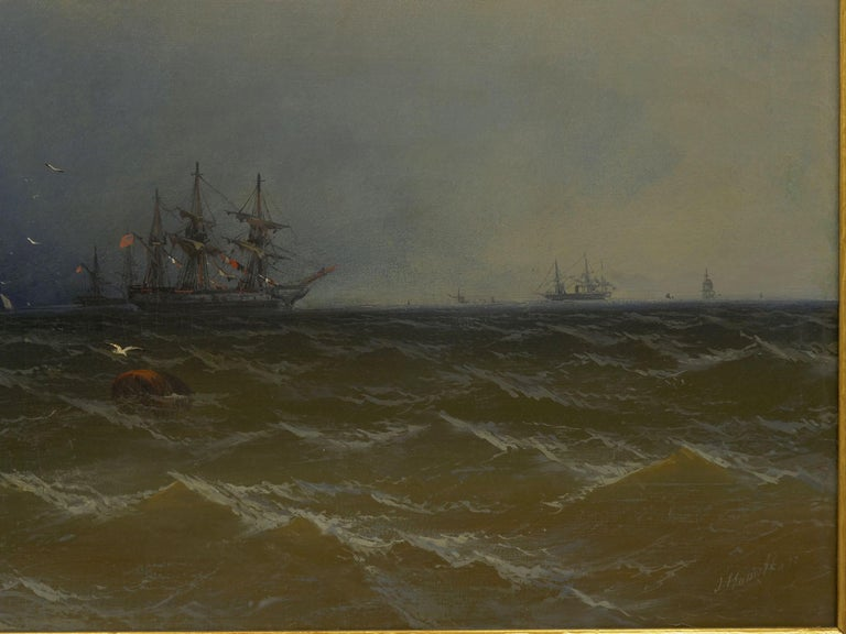 "Hand-Painted ""Channel Scenery"" '1864' Marine Seascape Nautical Painting by James Hamilton For Sale"