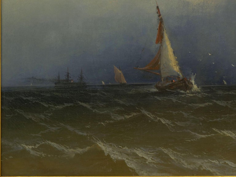 """Channel Scenery"" '1864' Marine Seascape Nautical Painting by James Hamilton In Good Condition For Sale In Shippensburg, PA"