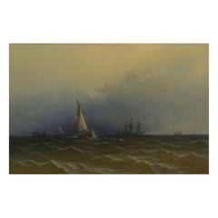 """Channel Scenery"" '1864' Marine Seascape Nautical Painting by James Hamilton"