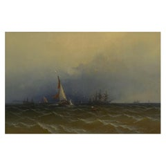 """""""Channel Scenery"""" '1864' Marine Seascape Nautical Painting by James Hamilton"""