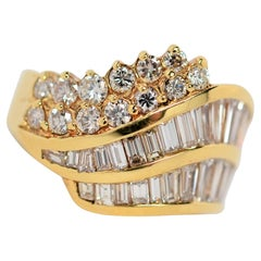 Channel Set Baguette & Round Diamond Ring Set in 18K Yellow Gold, 2.97 Carats