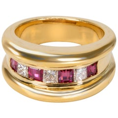 Channel Set Diamond and Ruby Band in 18 Karat Yellow Gold 1.27 Carat