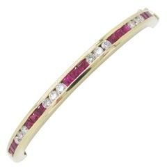 Channel Set Diamond and Ruby Bangle Bracelet