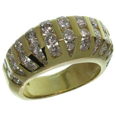 Channel-Set Diamond Domed Yellow Gold Estate Ring