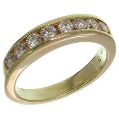 Channel-Set Diamond Yellow Gold Band Ring