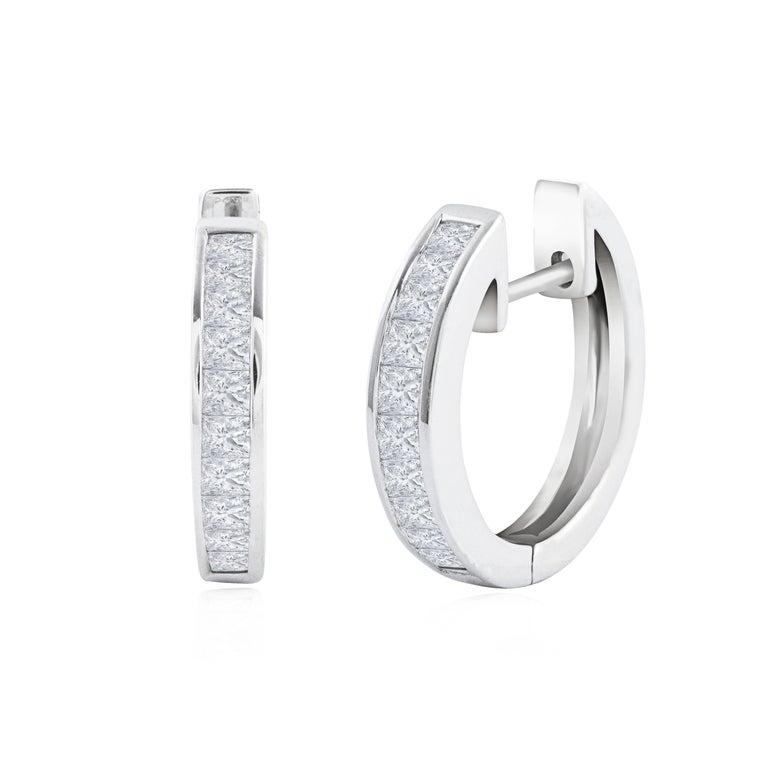 Channel Set Princess Cut Diamond Hoop Earrings For