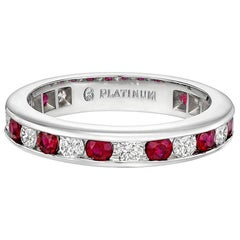 Channel-Set Ruby and Diamond Eternity Band