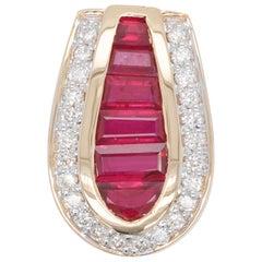 18 Karat Gold Channel Set Ruby Baguettes Diamond Round Pendant Necklace