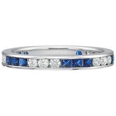 Channel-Set Sapphire and Diamond Eternity Band