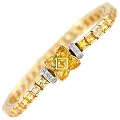 Channel Set Yellow Sapphire and Diamond Tennis Bracelet