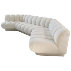 Channel Tufted White Sofa by Steve Chase, 1980s