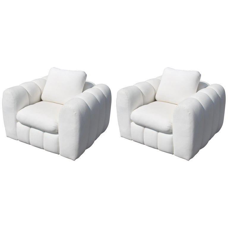 Channeled Jay Spectre White Club Chairs for Century Furniture, circa 1970s, Pair For Sale