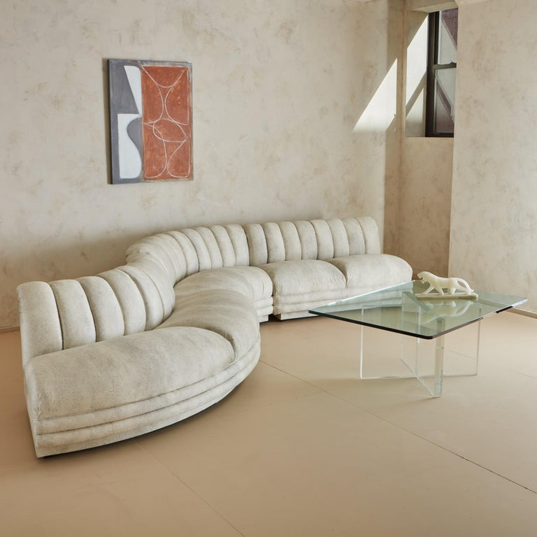 Channeled Serpentine Sectional Sofa For Sale 4