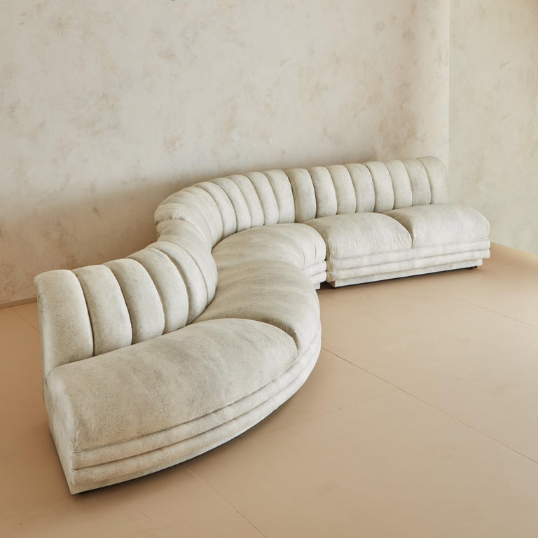 Mid-Century Modern Channeled Serpentine Sectional Sofa For Sale