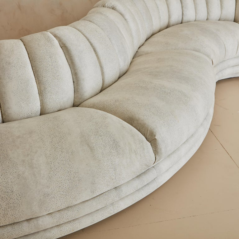 20th Century Channeled Serpentine Sectional Sofa For Sale