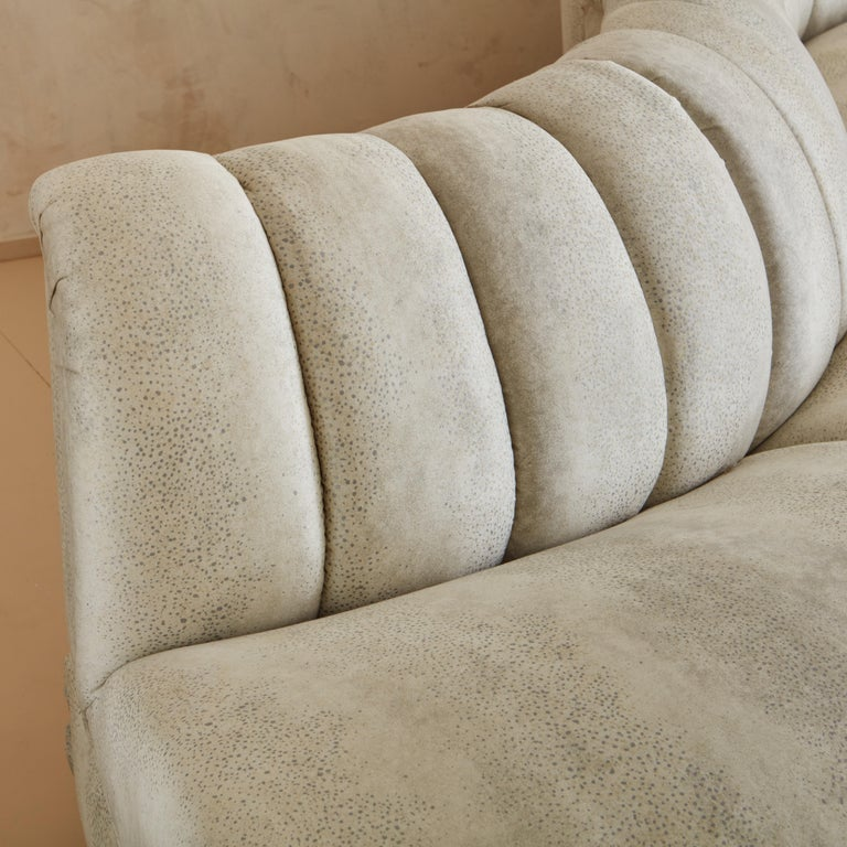 Upholstery Channeled Serpentine Sectional Sofa For Sale