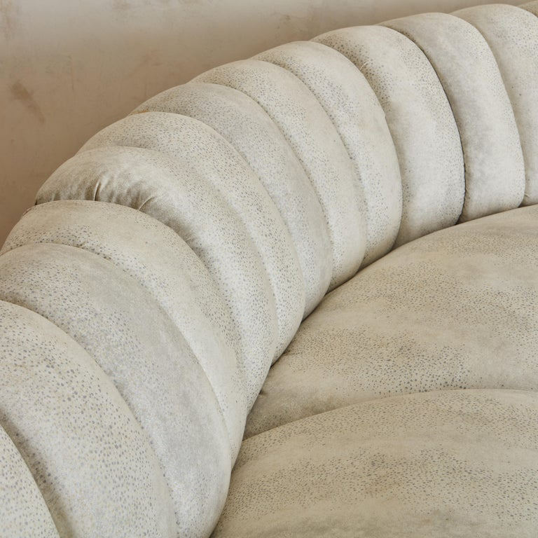 Channeled Serpentine Sectional Sofa For Sale 1