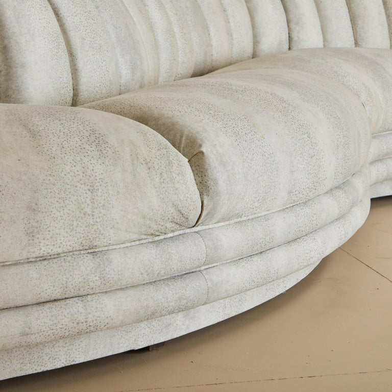 Channeled Serpentine Sectional Sofa For Sale 3