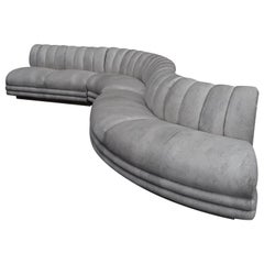 Channeled Serpentine Sectional Sofa