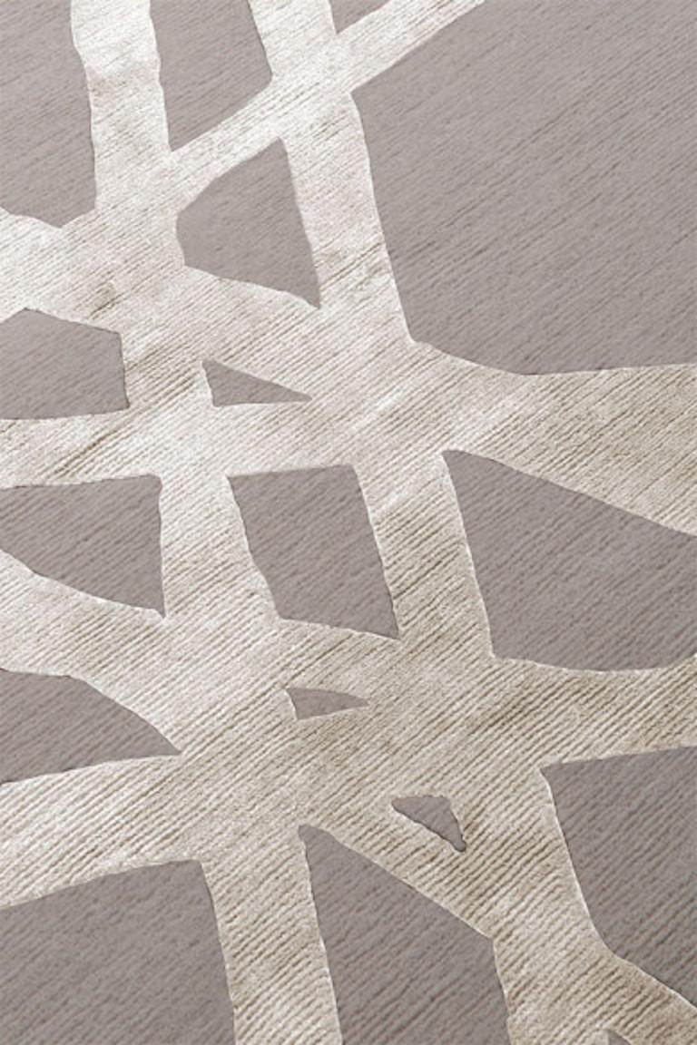 For Sale: Beige (Ivory) Channels Rug in Hand Knotted Wool and Silk by Kelly Wearstler 3
