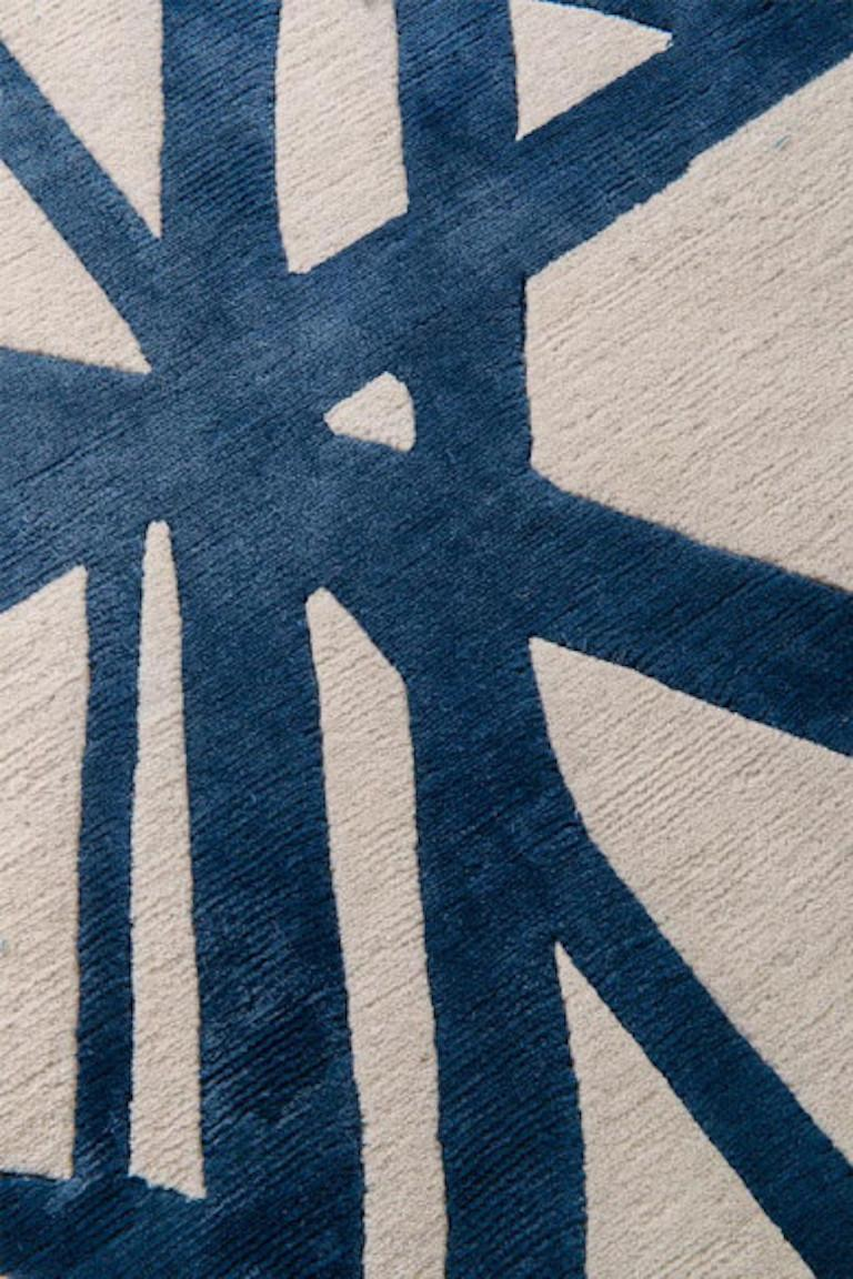 For Sale: Blue (Indigo) Channels Rug in Hand Knotted Wool and Silk by Kelly Wearstler 3