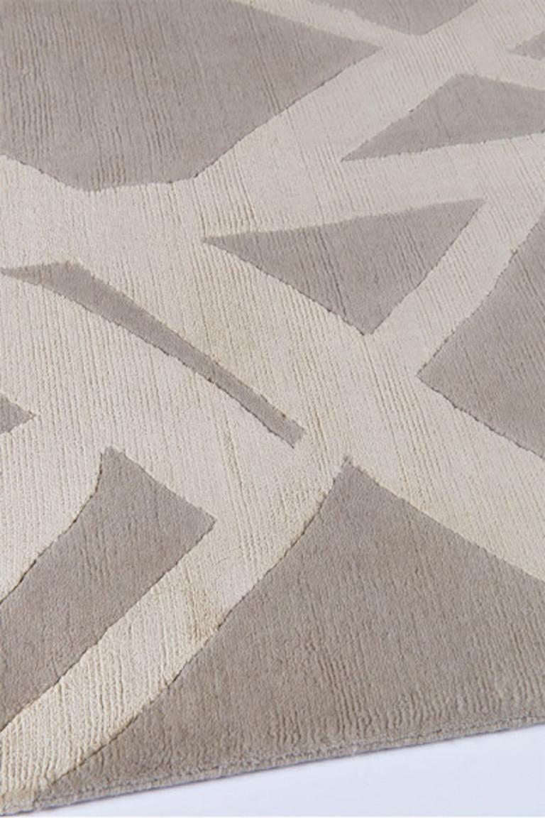 For Sale: Beige (Ivory) Channels Rug in Hand Knotted Wool and Silk by Kelly Wearstler 2
