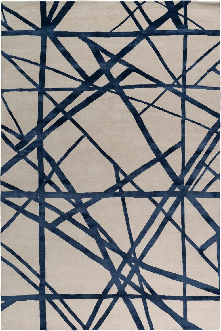 For Sale: Blue (Indigo) Channels Rug in Hand Knotted Wool and Silk by Kelly Wearstler