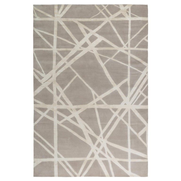 For Sale: Beige (Ivory) Channels Rug in Hand Knotted Wool and Silk by Kelly Wearstler