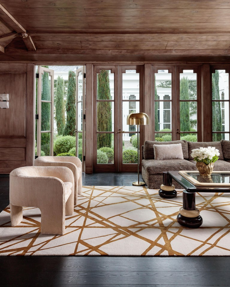 Channels Copper Hand Knotted 6x4 Floor Rug In Wool And