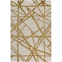 Channels Copper Hand-Knotted 6x4 Floor Rug in Wool and Silk by Kelly Wearstler