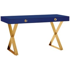 Channing Desk in Navy Lacquer and Brass