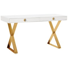 Channing Desk in White Lacquer and Brass