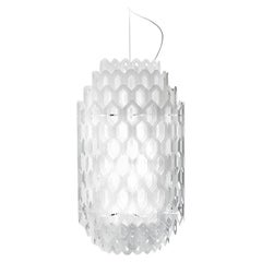 In Stock in Los Angeles, White Chantal Suspension Lamp, Made in Italy