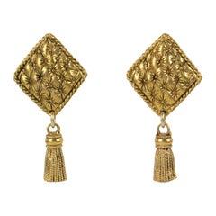 Chantal Thomass Dangle Clip Earrings Matelassé and Tassel