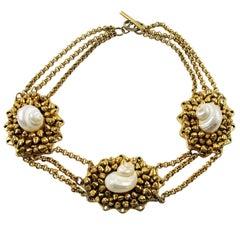 Chantal Thomass Paris Choker Necklace Gilt Resin and SeaShell
