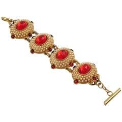 Chantal Thomass Paris Jeweled Link Bracelet Red Cabochon