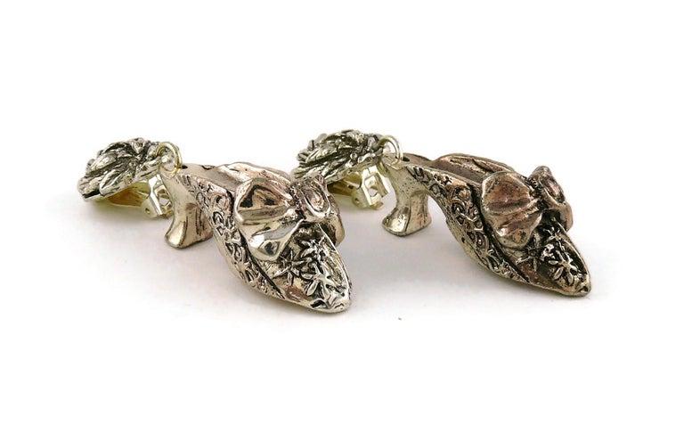 Chantal Thomass Vintage Novelty Silver Toned Shoe Dangling Earrings For Sale 2