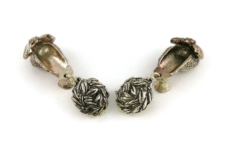 Chantal Thomass Vintage Novelty Silver Toned Shoe Dangling Earrings For Sale 4