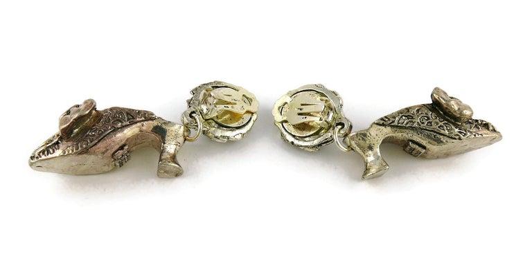 Chantal Thomass Vintage Novelty Silver Toned Shoe Dangling Earrings For Sale 5