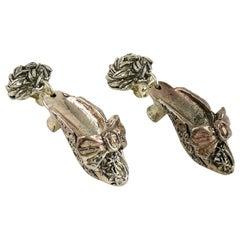 Chantal Thomass Vintage Novelty Silver Toned Shoe Dangling Earrings