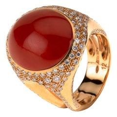 Chanteclaire Diamond Coral 18 Karat Rose Gold Ring
