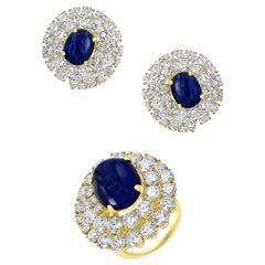Chantecler 12 Ct Sapphire 22 Ct VS/E-F Color, Diamond Ring, Earring Set 18 KYG